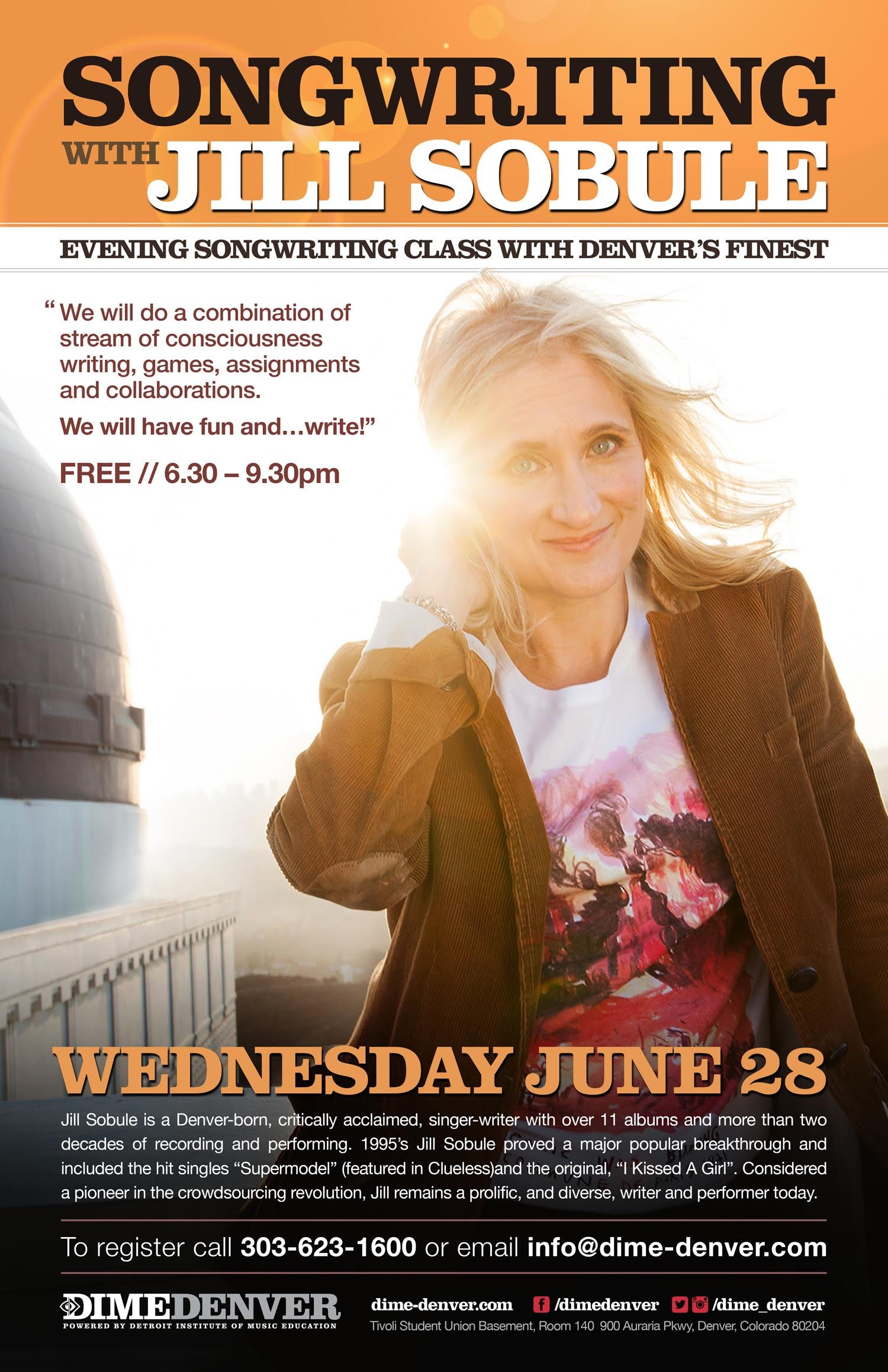 "SONGWRITERS' CORNER: DIME Denver Presents ""A Workshop With Singer/Songwriter Jill Sobule"" Wed., June 28th // COMBO's Songs for  June"