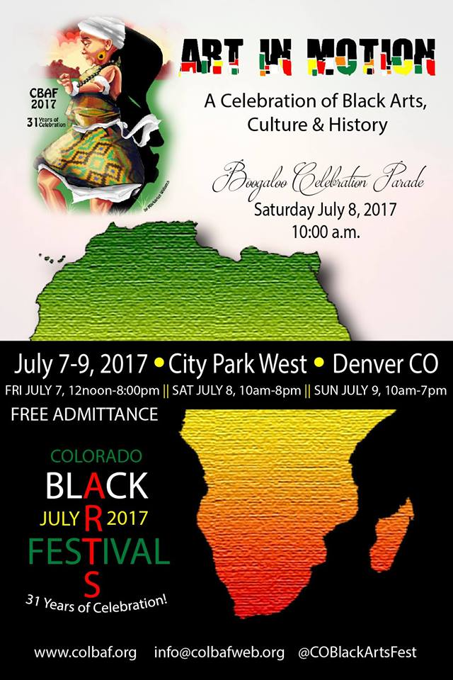 """EVENTS: """"Art in Motion"""" – 31st Annual Colorado Black Arts Festival – THIS Weekend"""