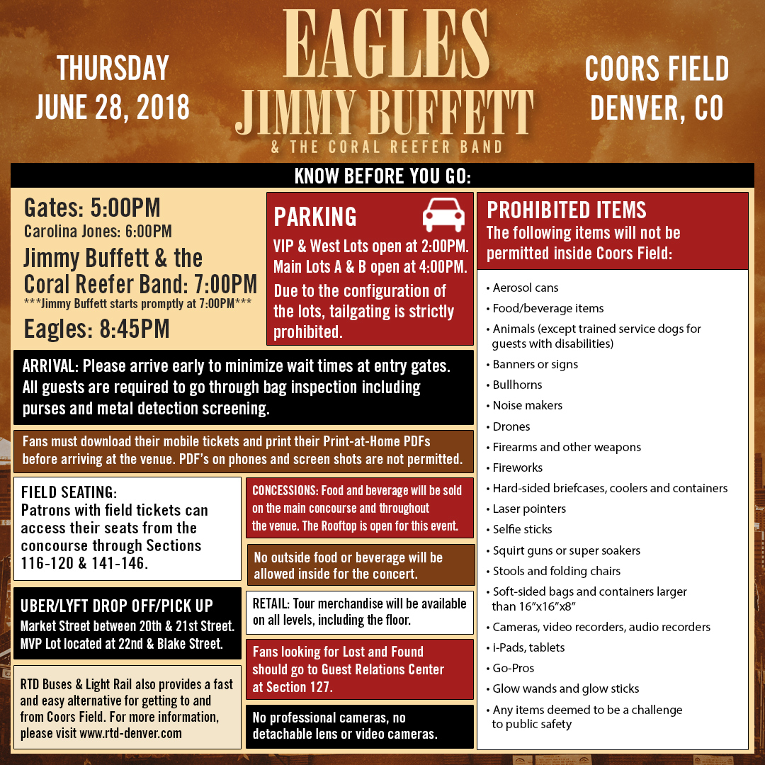 EVENTS: Rules for the Eagles / Jimmy Buffett Concert Tonight at Coors Field, Denver – Please read!