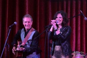 Jenny Shawhan with guest guitarist Phil at COMBO's Songwriter Showcase Nov. 17th, Hard Rock Cafe, Denver