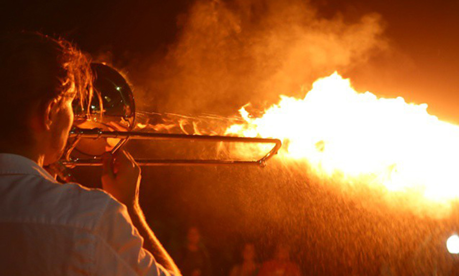 INTERESTING BITS: Musician Invents 'Pyro-Trombone' That Shoots Flames