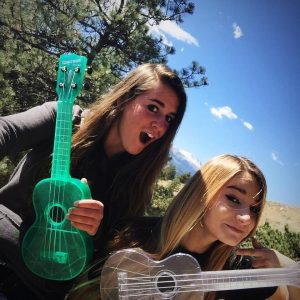 Facing West (Caitlin & Sidney Powell) with their new Kala ukeleles!